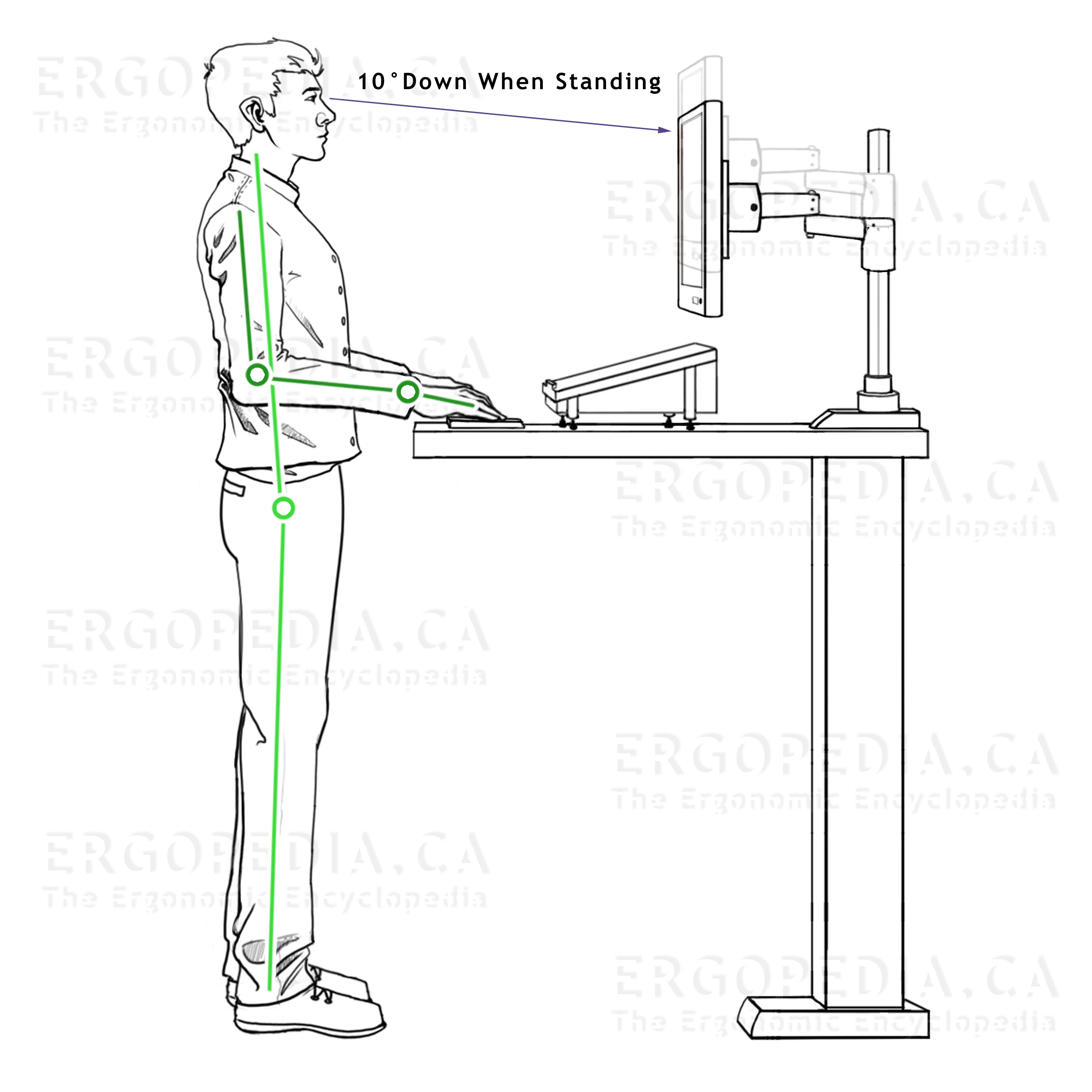 Graphic of Ergonomic Workstation Guidelines When               Standing at a Workstation